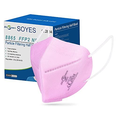 SOYES FFP2 Maske CE Zertifiziert Rosa 5-lagige 30 Stück FFP2 Maske Rosa Maske Atemschutzmaske Mund und Nasenschutz