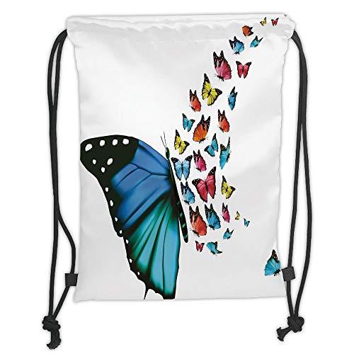 Fevthmii Drawstring Rucksack, Butterfly, Creative Conceptual Artwork Monarch Wings Colorful Realistic Natural Wildlife, Mehrfarbig Soft Satin, 5 l, Kapazität, verstellbar, Tanga, Closure, T