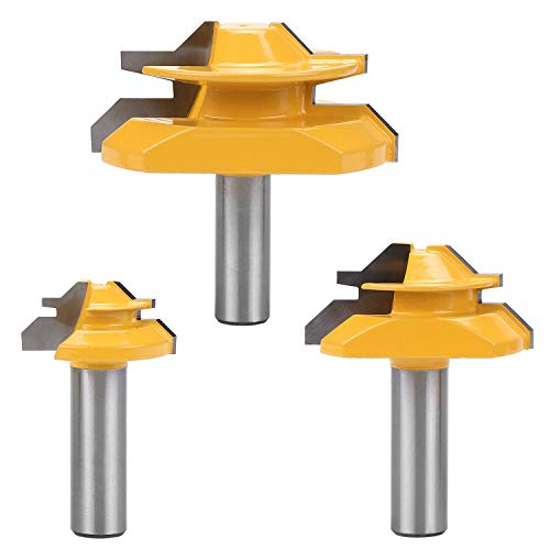 HSEAMALL 3 STÜCKE 1/2 Zoll Schaft Fräser Set, 45 ° Lock Gehrungsfräser Fräser Werkzeug Bohren Fräsen für Holzbearbeitungsfräser