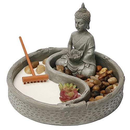 Nature's Mark, Mini Meditation Zen Garden Table Decor Kit, 6 x 6 Inches Round with Lotus, Buddha...
