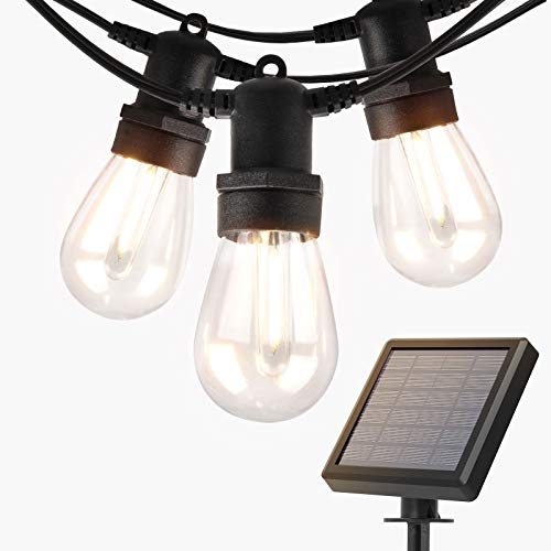 addlon 27FT Solar String Lights Outdoor, Commercial Grade LED Solar Café Patio Lights, Porch Market Light, Waterproof and Shatterproof, Vintage Edison Bulbs, Create Ambience On Garden, Warm Yellow