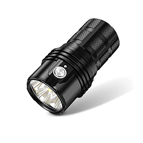 MALENT MS06 Linterna LED recargable de 25000 lúmenes CREE XHP70 2dos LED, linterna táctica de alto lumen Antorcha súper brillante, alimentada por 3 baterías de iones de litio de 4000 mAh 21700 ✅
