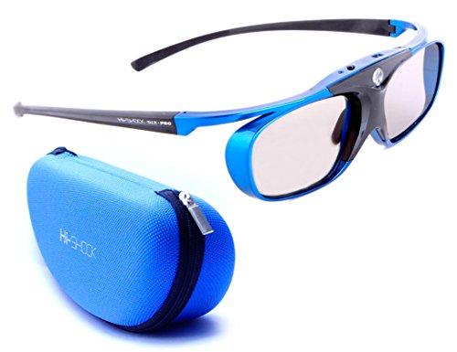 Hi-Shock DLP Pro Blue Heaven | DLP Link 3D Brille für 3D DLP Beamer von Acer, BenQ, Optoma, LG, [ |96-144 Hz | Akkubetrieb |DLP Link]
