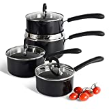 ProCook Gourmet Non-Stick Induction Saucepan Set - 4 Piece - Strain & Pour Induction Pans with Toughened Glass Lids and Non-Slip Stay-Cool Handles