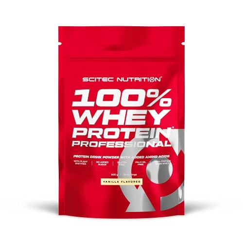 Scitec Nutrition 100% Whey Protein Professional, Con aminoácidos clave y enzimas digestivas adicionales, sin gluten, 500 g, Vainilla