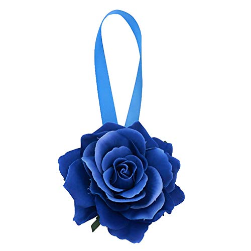 Lsgepavilion, fermatenda magnetico a forma di fiore, fermaglio, fissaggio, supporto per tende, per camera da letto, soggiorno, decorazione, Blu reale,