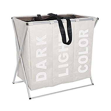 Folding Laundry Washing Basket Bag 3 Section Foldable Fabric Laundry Hamper Sorter 130 L Capacity Polyester 63 x 57 x 38cm