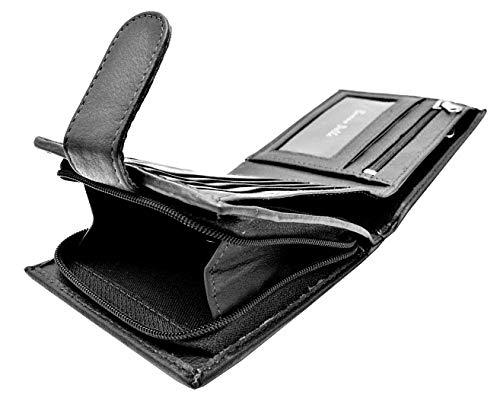 RFID-blockierende Herren-Brieftasche, Designer Buono Pelle, echtes, weiches Leder, mit großem Reißverschluss, Münzfach, in Geschenkverpackung, schwarz (Schwarz) - 4331682475