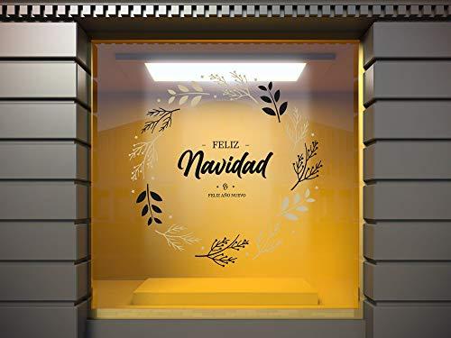 Vinilo Adhesivo Transparente en Efecto Espejo Feliz Año Nuevo y Feliz Navidad   100 x 100 cm   Vinilo Económico y Original   Vinilo Reserva de Blanco y Troquelado