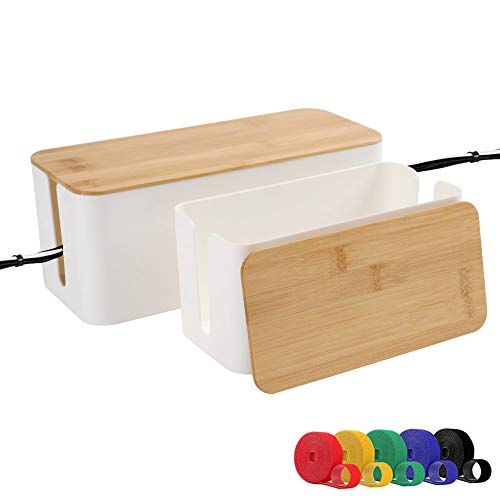 ShellKingdom Cable Management Box, Wood Grain Cable Organizer for Cable and Cord Management, Storage and Holder to Cover and Hide & Power Strips & Cords (M+L, White)