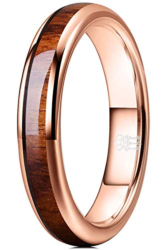 THREE KEYS JEWELRY 4mm Tungsten Carbide Wedding Ring for Women with Koa Wood Inlay Plated Rose Gold Domed Wedding Band Engagement Ring Comfort Fit Size 6.5