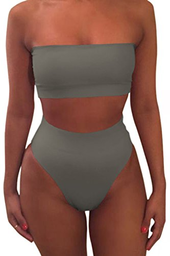 Pink Queen Women's Strapless No Pad High Waist Bikini Set Swimsuit Grey2 S