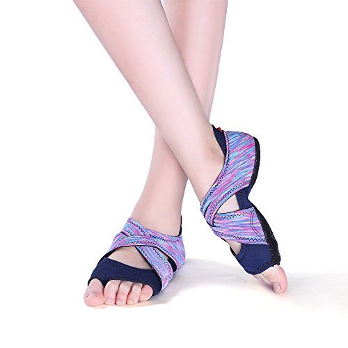 AiYoYo Anti-Rutsch Yoga Socken Yoga Schuhe 2 in 1 Zehensocken Schuhe aus Biologischer Baumwolle mit Offenen Zehen für Ballet,Yoga,Pilates,Tanz Sport(Violett S)