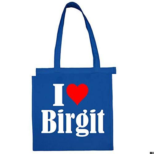 Tasche I Love Birgit Größe 38x42 Farbe Grau Druck Schwarz