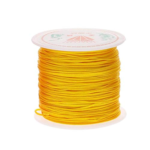XiaoOu Necklace Cord Nylon Cord Plastic Spool String Necklace Rope Bead For Necklace Bracelet Making String 0.8mm 45M/Roll,Gold Yellow