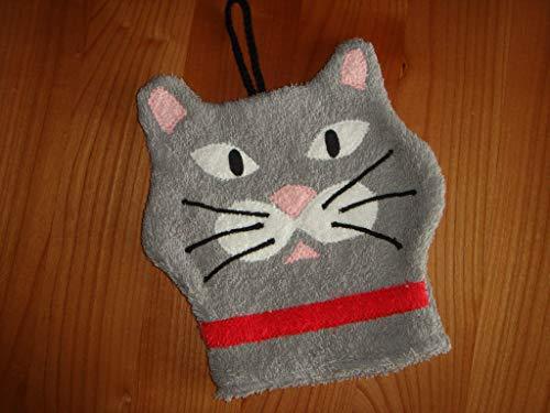 Waschhandschuh (Waschlappen) graue Katze