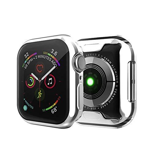 MroTech Funda Compatible con Apple Watch 44mm Series 6/SE 5 4 Case y Protector de Pantalla Integrados Cover Protección Completo Funda Suave TPU para iWatch 44 mm Screen Protector Case-Plata
