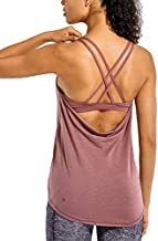 CRZ YOGA Lightweight Heather Women's Workout Tank Tops with Built in Bra Flowy Shirts Strappy Open Back Activewear Heathered Misty Merlot S