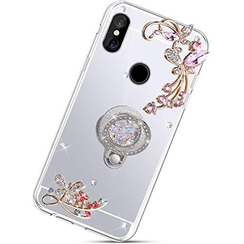 Custodia Compatibile con Xiaomi Redmi S2 Cover KunyFond Anello Farfalla Placcatura Supporto Glitter Trasparente Brillantini TPU Silicone Bling Strass Diamante Specchio Cristallo Bumper,Argento