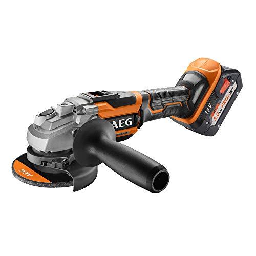 AEG 4935464417 Brushless Winkelschleifer (2X Akku 5,0 Ah, Scheibendurchmesser 125 mm, Ladezeit 90 Min) BEWS18-125BLLI-502C