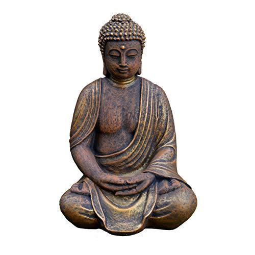 gartendekoparadies.de Massive Steinfigur Buddha Statue aus Steinguss frostfest (Gold)