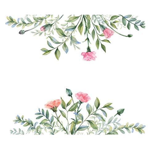 Hoja verde cártamo etiqueta de la pared dormitorio sala de estar decoraciones hogar mural armario diagonal pegatinas combinación papel pintado