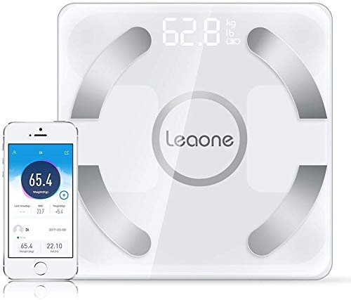 Leaone Bluetooth Body Fat Scale USB Rechargeable Smart Digital Bathroom Weight Scale Body Composition Analyzer with iOS & Android App for Body Weight, Fat, Water, Bmi, Bmr, Muscle Mass (Black), 1 Lb