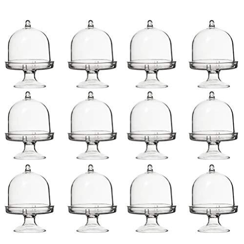 STOBOK Juego de 24 campanas para tarta con tapa para queso y campana de cristal, mini soporte para tartas para bodas, decoración de mesa, caja de regalo de cumpleaños