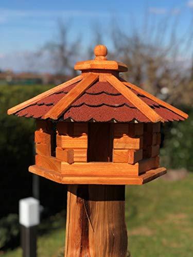 DARLUX Vogelhaus von M bis XL Futterhaus Vogelhäuschen mit oder ohne Ständer in Braun mit Rot, Grün oder Blau (Gr. M – ohne Ständer, Rot/Braun)