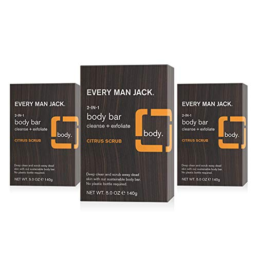 Every Man Jack Citrus Mens Soap Bar for Body and Hair - Bar Soap for Men with Wheat Bran, Shea Butter, and Aloe Vera to Deep Clean, Hydrate, and Soothe Skin - Naturally Derived, Zero Harmful Chemicals - 3 Pack