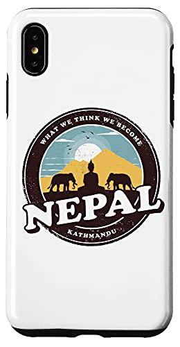 iPhone XS Max Nepal Kathmandu Buddha Statue Elephants Vintage Gift Case