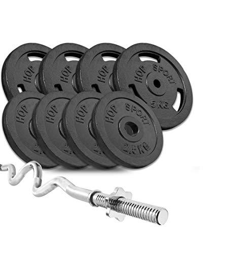 Hop-Sport Guss Hantelset mit Super SZ-Stange und Gewichten, 1x Super SZ-Stange, Set 37kg oder 57kg zur Auswahl (37kg)