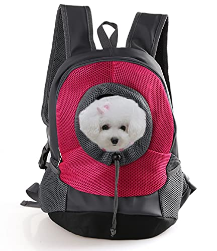 Dog Puppy Backpack Carrier Cat Dog Front Bag Pet Dog Papoose Carry Bag Ventilated Adjustable Padded Pet Shoulder Bag with Head Out Design, Pocket and Safe Belt Pet Carrier for Subway Camping Airplane