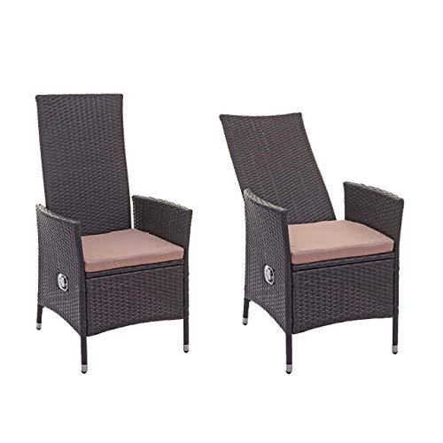 Mendler 2X Poly-Rattan Sessel HWC-E22, Gartensessel Gartenstuhl, verstellbar ~ braun, Kissen Creme