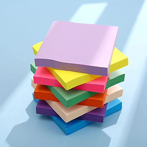 Codiea Sticky Notes 3x3, Bright Colorful Stickies, 100 Sheets Total, Strong Self-Stick Notes