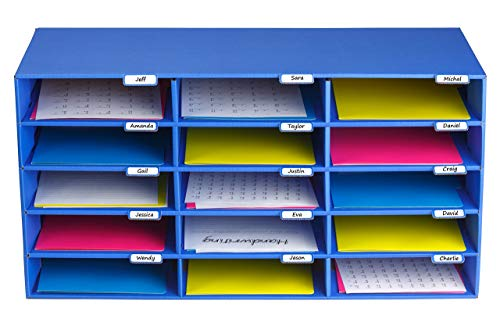 AdirOffice File Sorter Literature Organizer - Mail Vinyl Craft Paper Storage Holder Corrugated Cardboard for Office, Classrooms, and Mailrooms Organization (15 Slots, Blue)