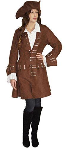 MAYLYNN 16536-L - Piratenkostüm Damen Piratin Kostüm braun Jacke und Hut, Größe:L
