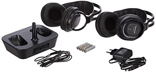 Panasonic RP-WF830WE-K Auriculares Dobles Inalámbricos Diadema (Adecuado para Personas Mayores, Hi-Fi Sonido, Base Recargable, Aislante de Ruido, Sin Bluetooth, Conexión Jack 3.5), Negro