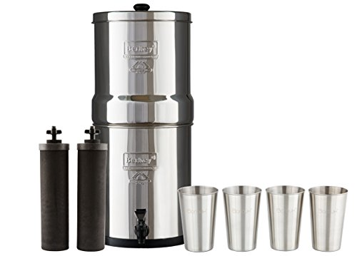 Big Berkey Water Filter with 2 Black Purifier Filters (2 Gallons) System Bundled with 1 set of 4 Boroux 12 oz Stainless Steel Cups.