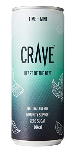 CRAVE Drinks Natural Energy Drink, Vegan, Gluten Free, Sugar Free, (Lime and Mint) - 250ML (24 x 250ml)