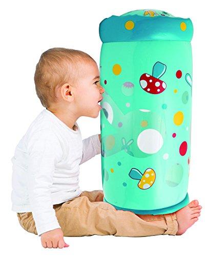 LUDI - Baby roller 'Lapin' 40 x 25 x 20 cm dès 6 mois. Rouleau gonflable qui développe la motricité des enfants. 6 balles sonores à faire circuler - 30005