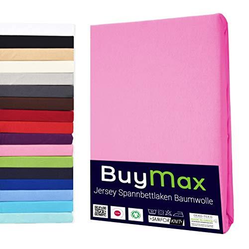 Buymax Spannbettlaken 140x200-160x200 cm Spannbetttuch Bettlaken 100% Baumwolle Jersey Bettbezug für Matratzen bis 25 cm Steghöhe, Altrosa
