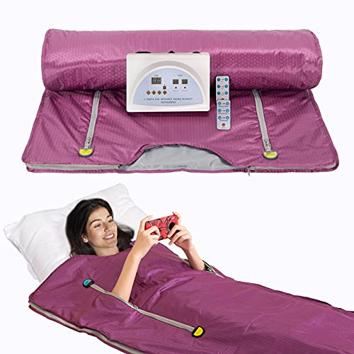 SurmountWay Far Infrared Sauna Blanket for Weight Loss with Remote Control Body Shaper,Upgraded Version Weight Loss Body Shaper Professional Detox Therapy Beauty Machine(Zipper Type,Purple)