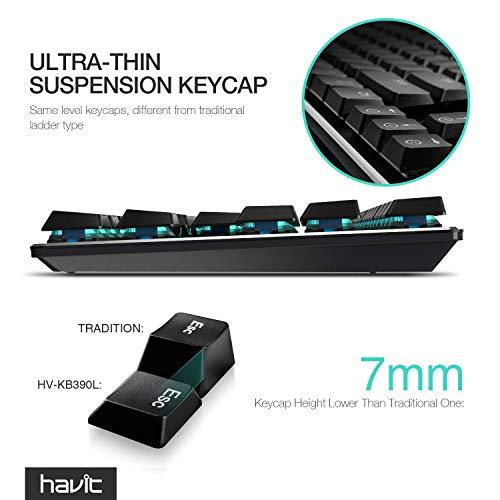 『HAVITメカニカルキーボード低背 青軸Kailh最新のロープロファイル技術 有線87キーN-キーロールオーバー(黒)』の6枚目の画像