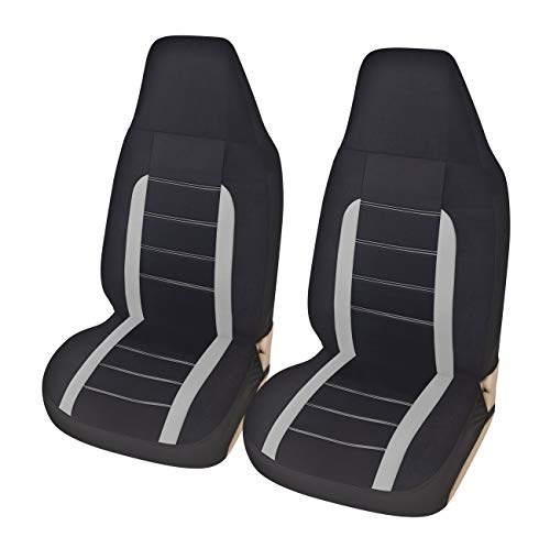 AUTOYOUTH Car Accessories Car Seat Covers for Cars Front Seat Covers Full Set Heated Seat Covers & Supports Bucket Line Design Car Seat Protector Universal Fit for Car Truck Van, Gray