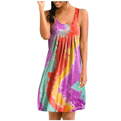 XOXSION Tie-Dye Minivestido de verano para mujer, casual, dobladillo irregular, sin mangas, vestido de camiseta