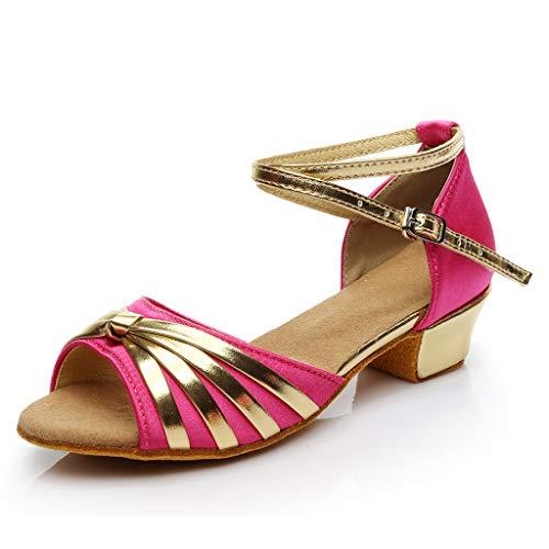 Damen Latin Tanzschuhe Block Heel Peep Toe Riemchensandale Sommer Outdoor Sandals(Rot/Hot Pink,37)