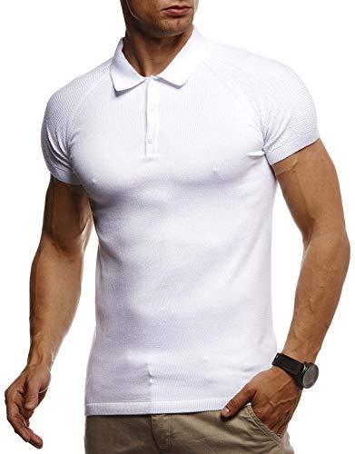 Leif Nelson Herren Sommer T-Shirt Poloshirt Slim Fit aus Feinstrick Cooles Basic Männer Polo-Shirt Crew Neck Jungen Kurzarmshirt Polo Shirt Sweater Kurzarm LN7310 Weiß Medium