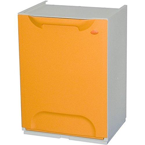 Art Plast R34/1G Cubo de reciclaje plástico apilable, Naranja/Blanco