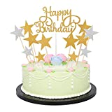 Happy Birthday Monogram and Gold Silver Star Cake Cupcake Decorations Toppers Picks Supplies, 41 Pcs Glitter Party Cake Decorations